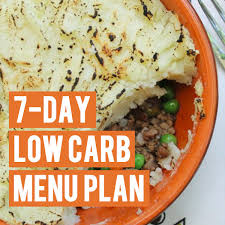 Typical low carb diet plan for a week